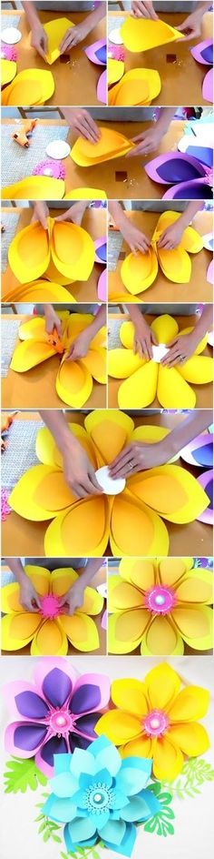 DIY giant paper flowers. Hawaiian style paper flower. How to make paper flowers.