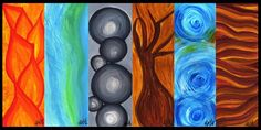 Painting on Acrylics Nature Patterns of: Fire • River • Stones • Wood • Wind • Earth - Pom Graphic Design©  www.facebook.com/...