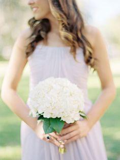 all white hydrangea bouquet #whitebouquet #hydrangea #weddingflowers http://www.weddingchicks.com/2013/11/15/romantic-and-timeless-wedding/