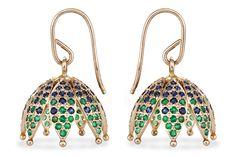 Amritha Emerald and Blue Sapphire Jhumka - Jewellery / Jhumkas - Parisera