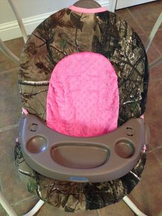 RealTree and Hot Pink Minky Baby Swing Cover on Etsy, $40.00