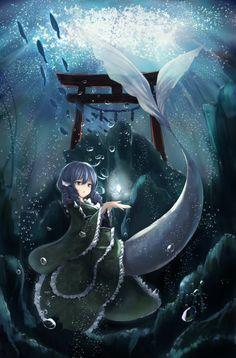 Kawaii Anime Girl, Anime Art Girl, Fantasy Kunst, Fantasy Art, Mythical Sea Creatures, Anime Mermaid, Pirate Art, Anime Monsters, Underwater Art
