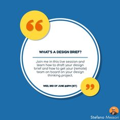 Having an idea but not sure how to start working on it? Join my live session and Wed. 3rd of June and discover the power of the Design Brief - stefano.tips/DesignBriefWeb 🚀  #Innovation #DesignThinking #Creativity #Webinar #Live #DesignStrategy #Startup #Disrupt #Founder #Growth
