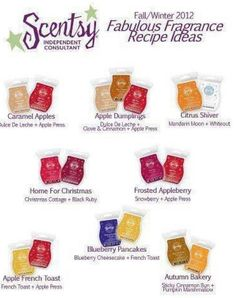 A few mix and match recipes for Scentsy fragrance   www.countrymom.scentsy.ca