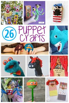 Lots of fun puppets for kids to make! These are perfect for pretend play and let's their creativity run wild.