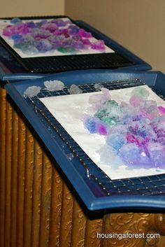 "Okay, this is clever!  ""Melting Art""  Paint snow and let it melt all over the watercolor paper.  See the results - add salt for fun."