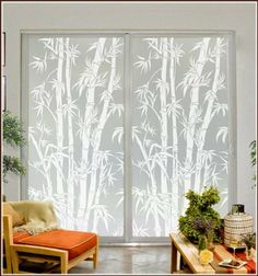 Privacy Window Film Big Bamboo Etched Glass with Lite Frost Glass 24 x 78 in Right by Wallpaper for Windows, www.amazon