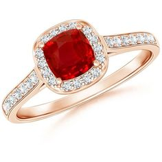 Classic Diamond Halo Ruby Vintage Ring ($1,749) ❤ liked on Polyvore featuring jewelry, rings, ruby ring, vintage ruby jewelry, vintage jewellery, vintage jewelry and ruby jewellery