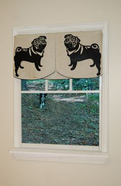 Faithful Companions 3 Piece Pug Dog Valance Set