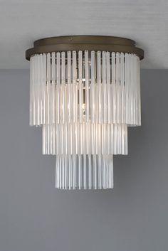 Aubrey Frosted Glass 3 Light Flush