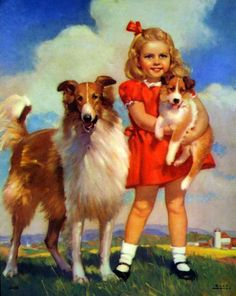 """Girl With Collie Dog Puppy"" - by Mabel Rollins Harris,  (20th Century, American)"
