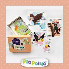Pia Polya Altı Parçalı Yap-Bozlar     24-48 ay çocuklar için tasarlanmış, kuş çizimlerinden oluşmaktadır.     İçeriği: 155mm x 118mm, kalın mukavva ve selefon kaplı 8 karakter, 48 parça zeka geliştirci oyun kartlarıdır.