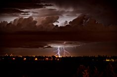 Lightning strikes West Edmonton, AB Canada