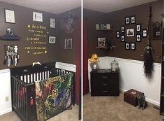Um quarto de bebê decorado com tema do Harry Potter.
