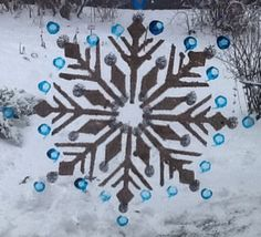 Snowflakes painted on window.