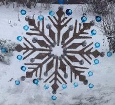 Snowflakes painted on window.