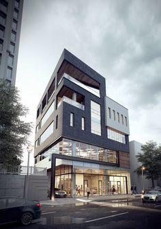 용봉동 근린생활시설 Archi Design, Facade Design, Exterior Design, Commercial Architecture, Facade Architecture, Residential Architecture, Small Buildings, Modern Buildings, My Building