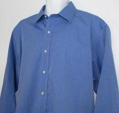 Brooks Brothers Blue Dress Shirt Classic Fit Non Iron 100% Cotton sz 17 X 34 #BrooksBrothers