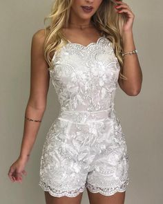 Spaghetti Strap Lace Embroidery Rompers We Miss Moda is a leading Women's Clothing Store. Offering the newest Fashion and Trending Styles. Wedding Rompers, Wedding Dresses, Homecoming Dresses, Party Dresses, Prom Dress, Short Jumpsuit, Prom Jumpsuit, White Jumpsuit, Denim Jumpsuit