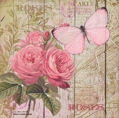 Ideas For Vintage Paper Butterflies Roses Decoupage Vintage, Vintage Diy, Vintage Labels, Vintage Ephemera, Vintage Cards, Vintage Paper, Vintage Flowers, Vintage Images, Shabby Vintage
