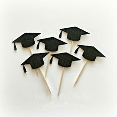 Glitter Graduation Cupcake Toppers, Graduation Cap Cupcake Topper, Mortar Board Cupcake Topper by PattyAntlesPrettys on Etsy