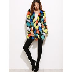 SheIn(sheinside) Multicolor Collarless Faux Fur Coat ($59) ❤ liked on Polyvore featuring outerwear, coats, white fake fur coat, fake fur coats, multi colored faux fur coat, faux fur coat and imitation fur coats