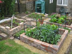 This winter I built 4 brick raised beds. It took a bit of time. but we got there before spring sprung. Here& how it looks t. Raised Vegetable Gardens, Raised Garden Beds, Stone Raised Beds, Raised Bed Frame, Farmhouse Sheds, Brick Garden, Garden Projects, Garden Ideas, Backyard Ideas