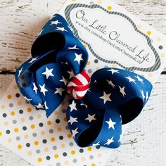 July 4th Hair Bow Patriotic Hair Bow Red by OurLittleCharmedLife