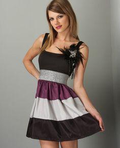 cute purple grey and black dress!