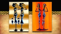 African Art - water carriers. Original acrylic on canvass street art from South Africa. See the full range plus 3000 other African products on our website www.earthafricacurio.com. Please also watch our YouTube videos. African Art, South Africa, Street Art, Range, Website, Watch, The Originals, Videos, Youtube