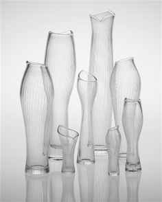 View Selection of eight vases, including 'Varsanjalka', model no. 3215 and 'Tuonelan virta', model no. 3522 by Tapio Wirkkala sold at Nordic Design on 27 September 2012 London. Ceramic Tableware, Porcelain Ceramics, Nordic Design, Scandinavian Design, Art Of Glass, Clear Glass, Ceramics Projects, Vases Decor, Mid Century Design