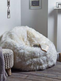 Sheepskin rug bean bag