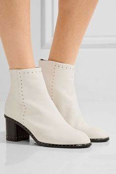 Heel measures approximately inches White leather Zip fastening along back Made in Italy White Ankle Boots, Leather Ankle Boots, Studded Leather, White Leather, Designer Shoes, Shoe Boots, Christian Louboutin, Footwear, Heels