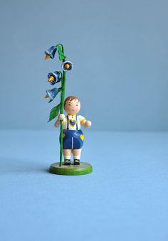 Tiny Boy & Birds Miniature Erzgebirge Germany by MisterTrue, $32.00