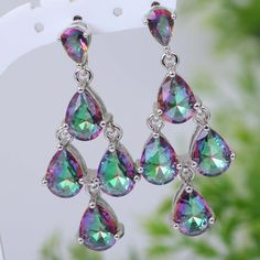 Find More Drop Earrings Information about Distinctive Brand designer Hot Pink Rainbow Mystic Topaz 925 sterling silver jewelry dangle earrings  fashion jewelry E207,High Quality jewelry details,China jewelry lucite Suppliers, Cheap jewelry cover from Dana Jewelry Co., Ltd. on Aliexpress.com