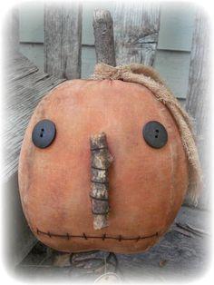 Primitive Halloween Fall Pumpkin Jack Rusty Spring Make-Do dolls~jillykbee~ #NaivePrimitive