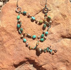 Santa Fe Triple strand Turquoise and antiqued by elementsinspired, $195.00