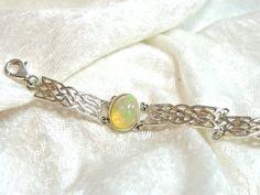 ON SALE 10x8 Ethiopian Opal Bracelet, Welo Opal Link Bracelet, Opal Bracelet, thick Solid 925 Sterling Silver 7 1/2 inch by JewelrybyPatterson on Etsy