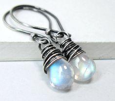 Rainbow Moonstone Earrings, Sterling Silver June Birthstone Earrings, Moonstone Drop Dangle Earrings, Wire Wrapped Gemstone Jewelry via Etsy