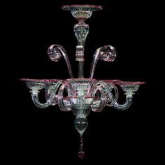 Lampadario 5 luci in vetro veneziano color cristallino puro con le finiture color rubino