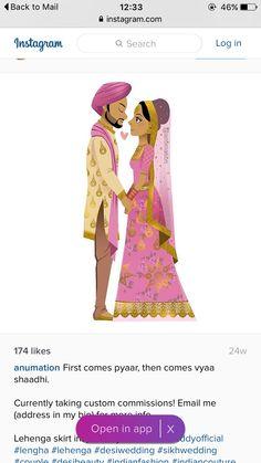super Ideas for wedding couple cartoon illustration grooms Indian Wedding Cards, Sikh Wedding, Indian Wedding Decorations, Wedding Art, Wedding Couples, Wedding Dresses, Bride And Groom Cartoon, Wedding Couple Cartoon, Indian Wedding Couple Photography