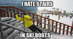 Hahaha! I have never skied before but I have tried stairs in roller skates and…