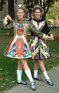 Irish dancers with very expensive dresses...not what the poor Irish girls wore