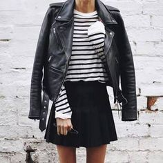 Black and white striped top, black leather jacket, black skirt Street style, street fashion, best street style, OOTD, OOTD Inspo, street style stalking, outfit ideas, what to wear now, Fashion Bloggers, Style, Seasonal Style, Outfit Inspiration, Trends, Looks, Outfits.