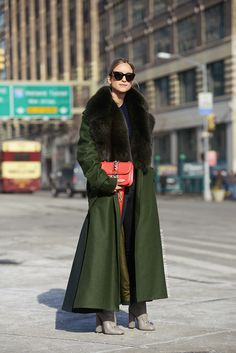 Army green coat and Valentino rockstud bag in red #Milan #StreetStyle