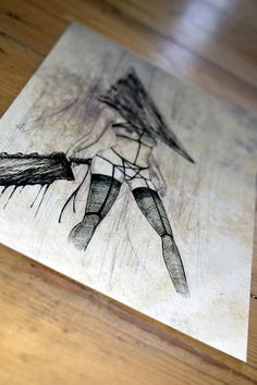 Items similar to Pryamid Head Silent Hill - Art Print on Etsy Silent Hill Art, Pyramid Head, Bristol Board, Resident Evil, Dark Art, Apocalypse, Creepy, Horror, Sketches