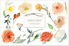 FREE UNTIL MAY 27! :: Koko Loko. Watercolor floral clipart by LABFcreations on @creativemarket