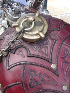Motorcycle with tooled leather - Paul Cox: Berserker - Harley Bikes, Harley Davidson Motorcycles, Custom Motorcycles, Custom Bikes, Pin Up Girls, Motorcycle Tank, Motorcycle Design, Leather Tooling, Tooled Leather