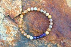 Vibrant Lupin Bracelet: This bracelet is handmade using the gemstones #Amethyst #Fossil and #Jasper. #malarae #mala #meditaion #yoga #jewelry #fashion #malabeads #mantra #bracelet #gemstones