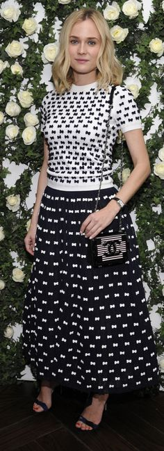 Diane Kruger was chic in a black and white set and a Chanel lego bag